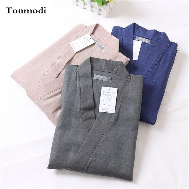 Кимоно Пижамы Установить Мужчины 100% Хлопок Двойной Слой Марли Пижамы Гостиной Пижамы
