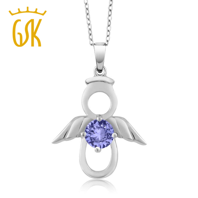 GemStoneKing 0.46 Ct Round Blue Natural Tanzanite Jewelry For Women  925 Sterling Silver Angel Wing  Pendant Necklace
