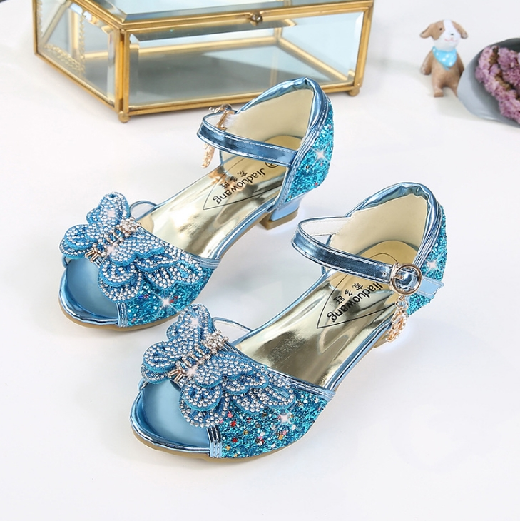 MXHY2019New Summer Style Fish Mouth SandalsGirl Butterflyhigh Heels Toddler Sweet Children Open-toed Princess Sandals Size26-38