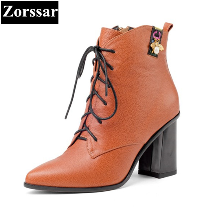 {Zorssar} 2017 NEW Winter Ladies shoes Cow Leather Pointed toe High heels Short boots Fashion lace up Women ankle Martin boots fashion pointed toe lace up mens shoes western cowboy boots big yards 46 metal decoration
