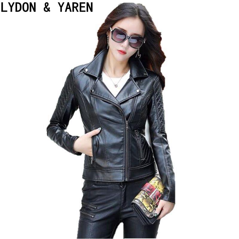 2017 spring leather jacket women motorcycle leather clothing female short design slim plus size 5XL short blazer jacket Red