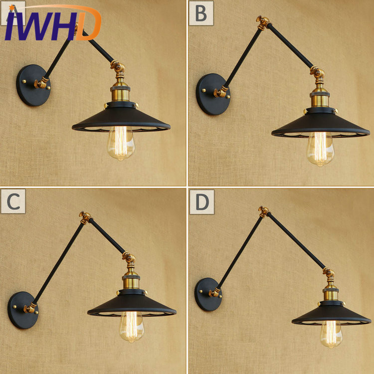 IWHD Loft Style Swing Arm Wall Sconce Mirror Glass Iron Wall Lamp Edison Industrial Vintage Wall Light Fixtures Home Lighting недорого