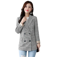 2018 New Autumn Female Blazers Plaid Double Breasted Slim Suits Jackets Long Woman Blazers