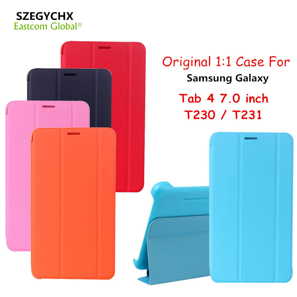 SZEGYCHX Original 1:1 Ultra Slim PU Leather Smart Tablet Cover Case For Samsung Galaxy Tab 4 T230 T231 7.0 inch Protective Cover sldpj stylish ultra thin protective pu leather case cover w visual window for iphone 4 4s red