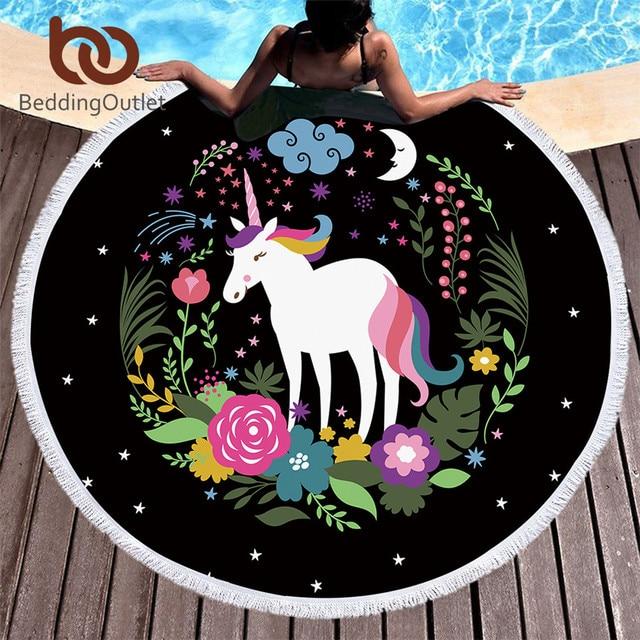 BeddingOutlet Unicorn Cartoon Round Beach Towel Stars Moon Tassel Tapestry Flowers Toalla Sunblock Cover-Up Blanket 150cm Mat