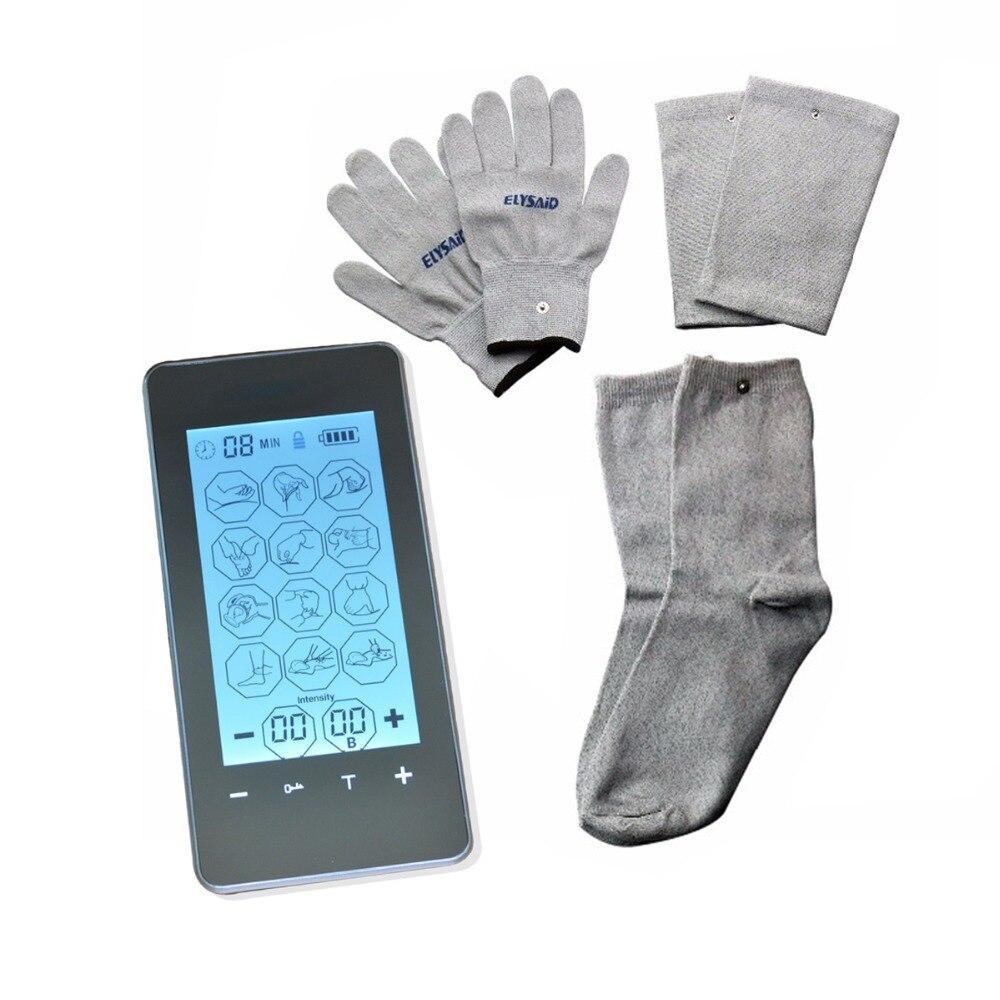 Нов FDA шията и гърба електронно тяло масажор сензорен екран интелигентна импулс акупунктура машина с проводими ръкавица чорапче