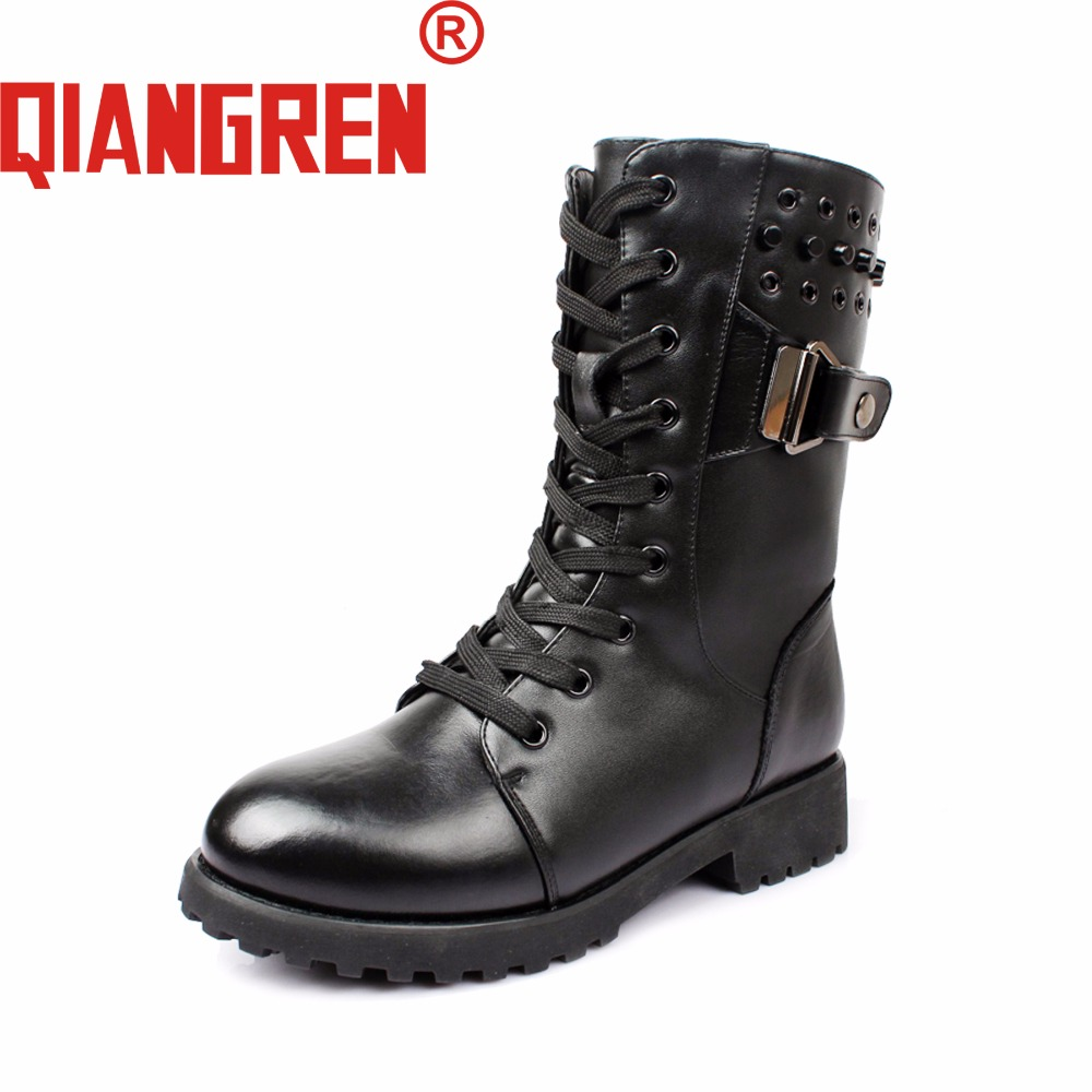 все цены на QIANGREN New Arrive Military Factory-Direct Womens Winter Genuine Leather Wool Black Snow Boots Ladies Outdoors Motorcycle Boots в интернете