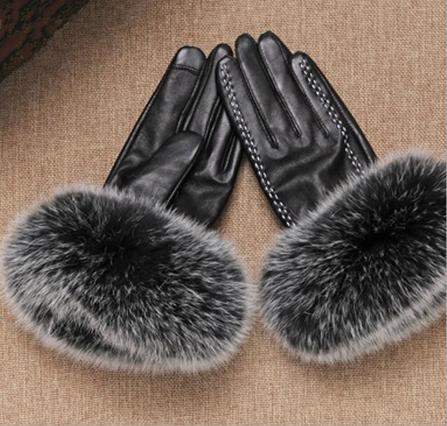 Gants en peau de mouton noir hiver chaud réel fourrure de renard manchette écran tactile gants en cuir véritable gants de moto