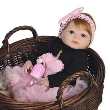 Newest Reborn doll 55cm Soft Silicone Reborn Baby Dolls Realistic Doll Reborn Vinyl Boneca Bebes Reborn Doll For Girls