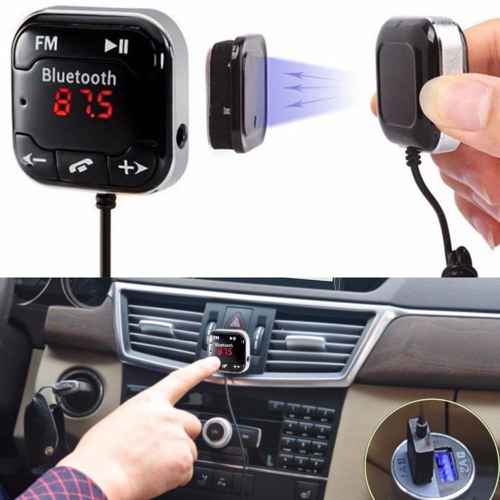 PERBEAT Trasmettitore FM per Auto Bluetooth Dotato di 2 Porte di Ricarica USB Controllo Musica e Vivavoce Compatibile con Smartphone Tablet PC Lettori MP3 Supporta Schede USB//Micro SD