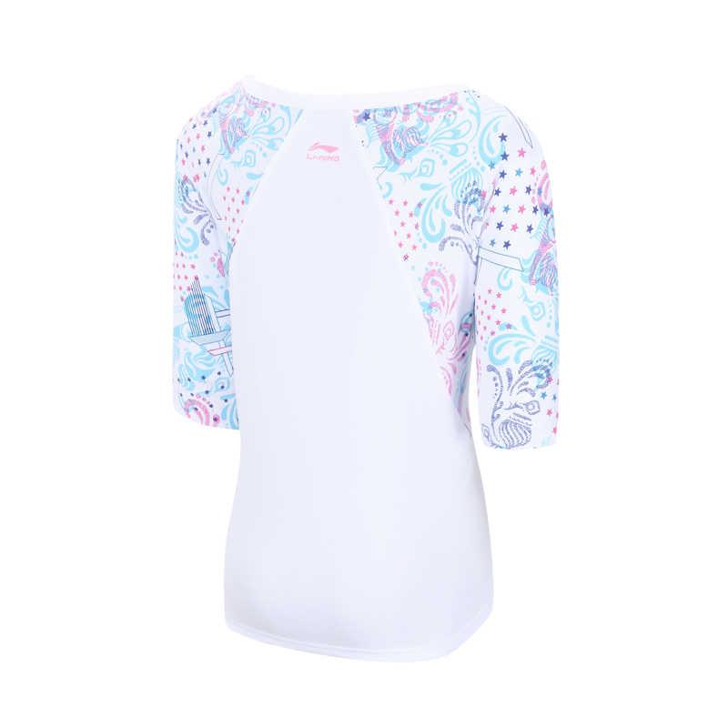 (Break Code) li-Ning Vrouwen De Trend T-shirt Katoen Losse Voering Ademend Raglanmouwen Li Ning Sport Tee Tops AHSN096 WTS1487