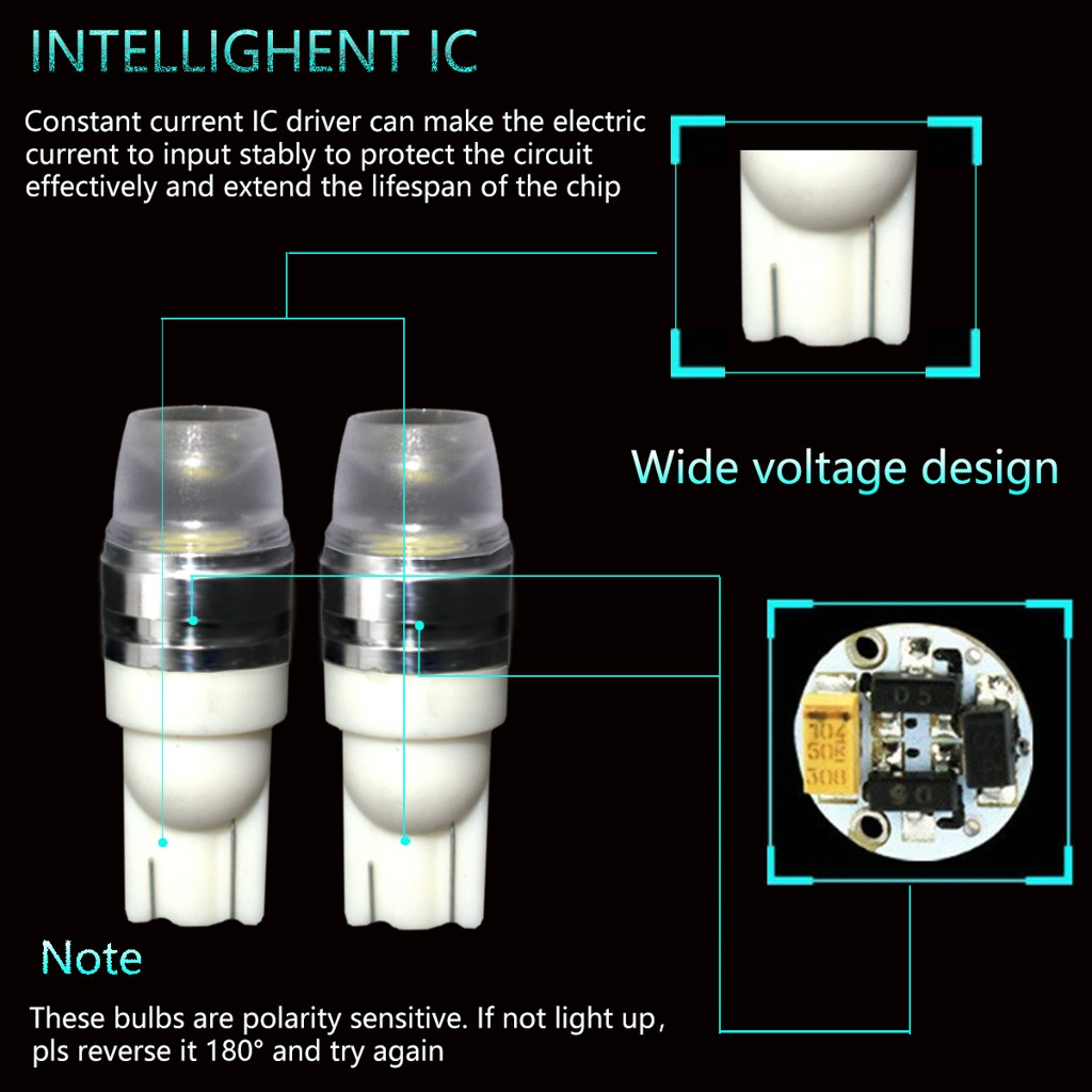 Image 4 - 2 x T10 LED Concave Lens Interior Light Bulbs COB Width Wedge Side Lamps 6000K LED Light Bulbs For Cars Reading Panel Lights-in Signal Lamp from Automobiles & Motorcycles