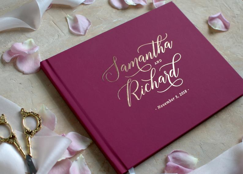 Personalize Burgundy Wedding Guest Book, Marsala Wedding Guestbook, Customize Maroon Wedding Photo Albums Photobooth Book