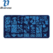 Blueness 1 Pcs Water Decals Stencils 6*12 cm Stemping Plates Stainless Steel Stamp Polish Template Nail Art Tool