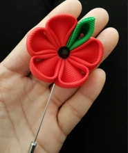 custom hot red ribbon flower pins,wedding party favor,women men's lapel brooches