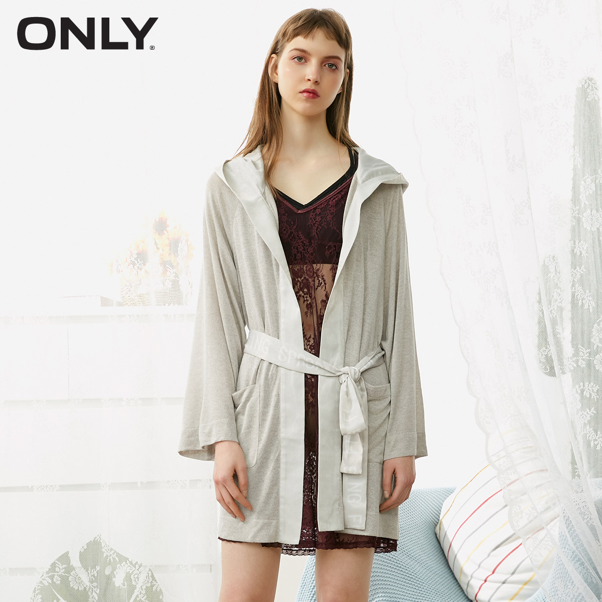 ONLY  Spring Summer New Women's Loose Fit Satin Splice Hooded Night Gown  1182R7501