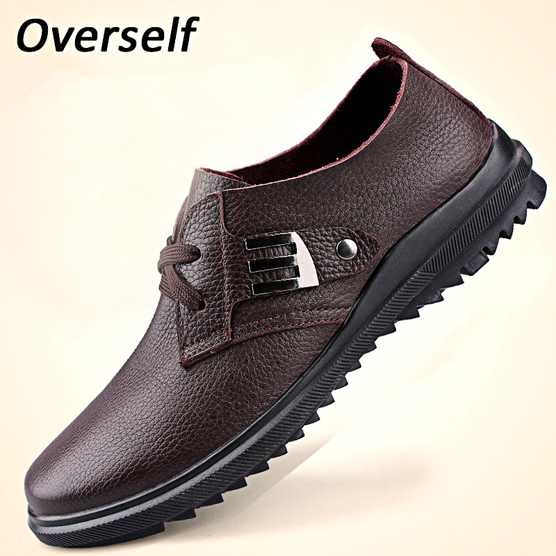 Plus Size Leather Casual Shoes Handmade Mens Loafers Fashion Designer lace up Men Shoe Men's Flats Breathable Spring Autumn shoe