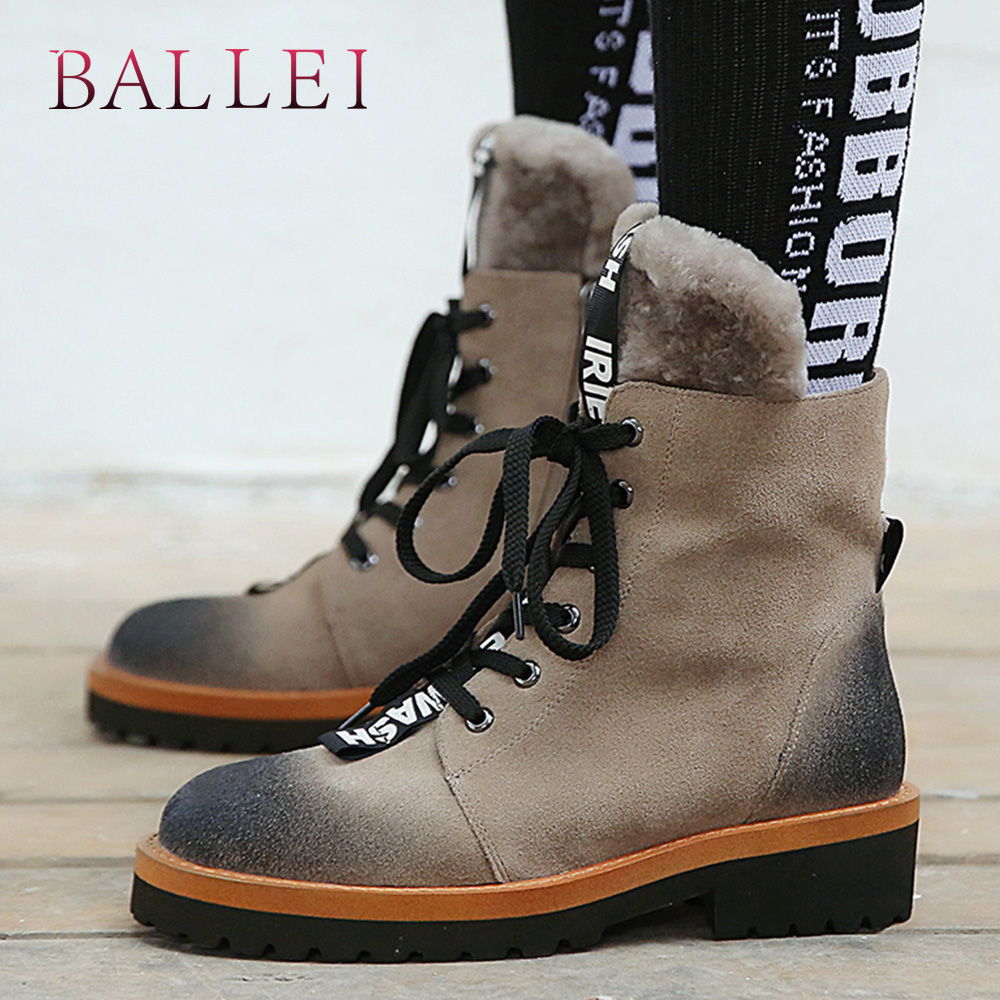 BALLEI Handmade Woman Winter Ankle Boot Vintage Cow Suede Retro Round Toe Soft Low Heel Shoes Quality Lace-up Warm Fur Boots B85
