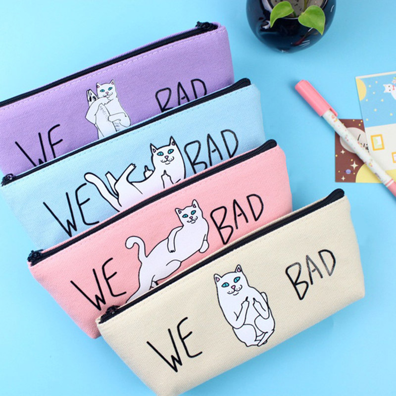 Cute Cat Canvas Boys Pencil Case Kawaii Pencil Bag Pen Box For Girls Office School Supplies Korean Stationery Free Shipping 1135