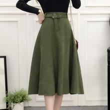 High Waist Elegant Skirt Green Black White Knee-Length Flared Skirts 2017 Spring Autumn New Fashion Women Sashes A-line Skirts