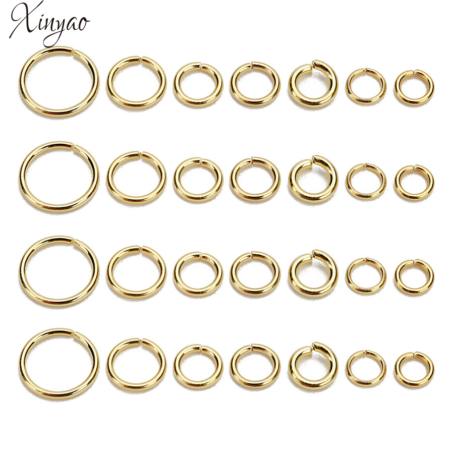 XINYAO 100Pcs/lot 4 5 6 8mm Stainless Steel Open Jump Ring Gold Color Round Split Ring Connectors For Diy Jewelry Making F7855