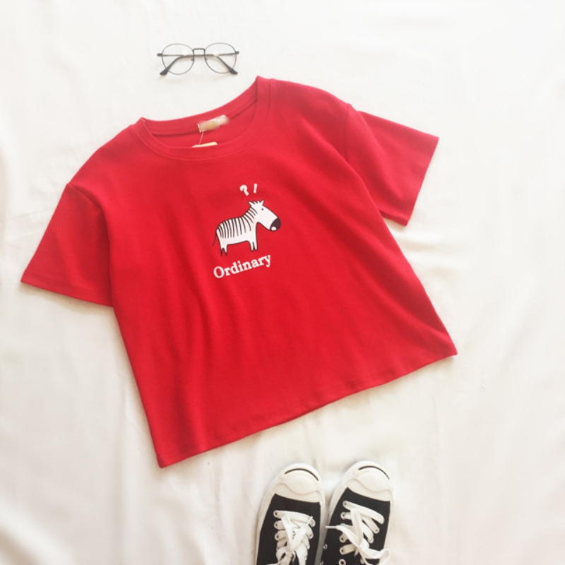Ladies Cartoon T-shirt South Korea Youth Lady Women Fashion Casual Shirt