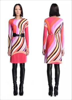 Couture autumn new color fashion with belt silk jersey fabrics knitted elastic long sleever dress free shipping