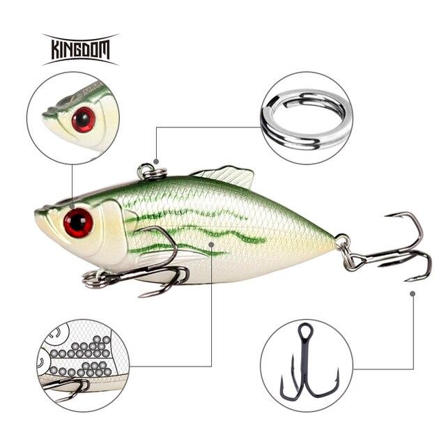 Kingdom Fishing Lures 50m 5.6g, 65mm 10.5g Crankbaits Fishing Small Leaves VIB Vibration Fishing Bait Tackle VMC Hook wobblers 2