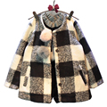 Girls coat wool kids plaid fashion white black jacket for children winter clothes