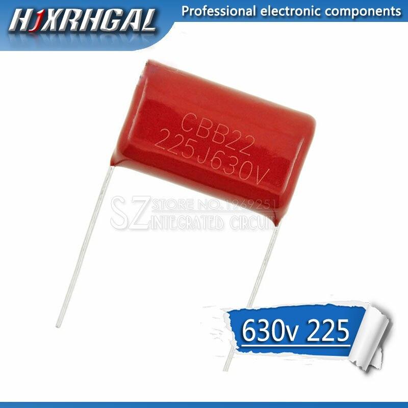 10 шт., пленочный конденсатор из полипропилена 630V225J, 25 мм, 2,2 мкФ 2200NF 225 630 в CBB