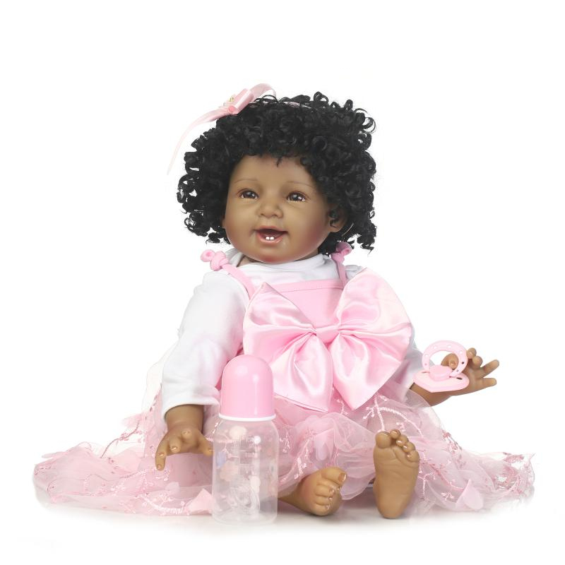 Fille noire jouets russe 55 cm cheveux ondulés silicone reborn bébé doux corps poupées filles jouets pour enfants jouet éducatif hot-sale 22