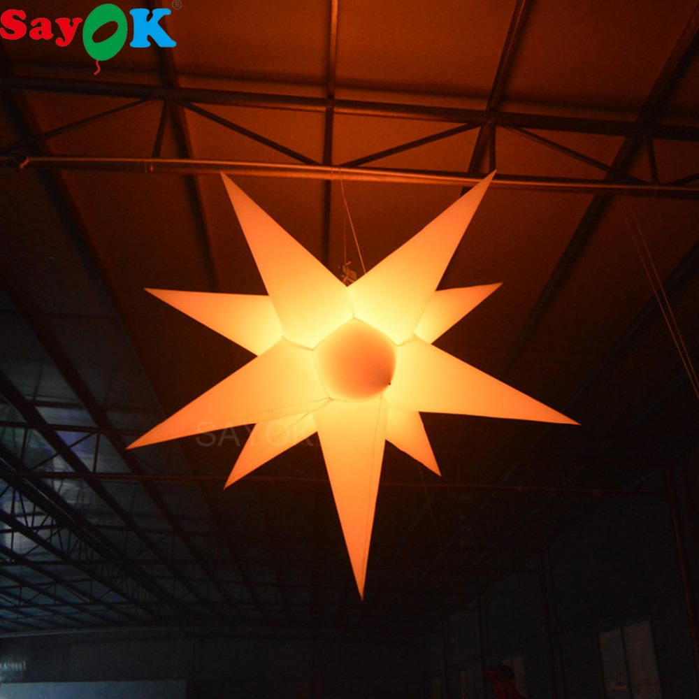 Sayok 1 5 2m Inflatable LED Hanging Star Decoration Glowing in the Dark with 16 Colors