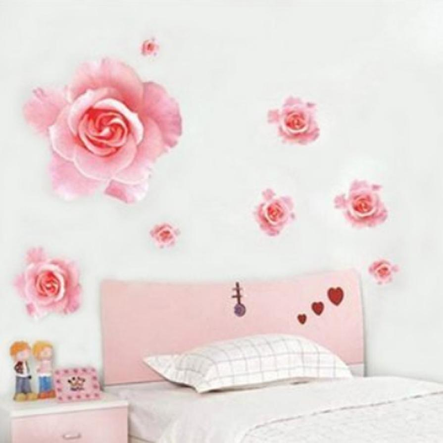 Mosunx Business Fashion Wall Sticker 3D Pink Rose Flower Removable Home Decor Decal Vinyl