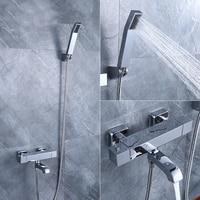 Brass handheld Showerhead Thermostatic Shower Set Mixer Faucet brass Handshower Chrome Finished AF088