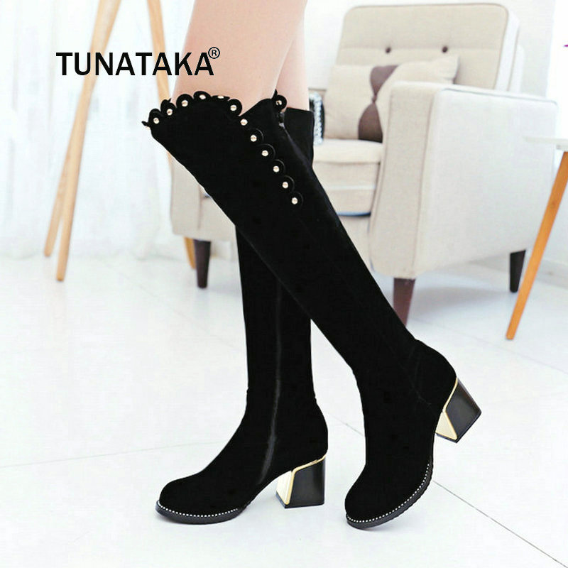 Women Faux Suede Comfortable Square Heel Knee High Boots Fashion Rivet Round Toe Women Shoes Black faux rammel alloy round square earrings