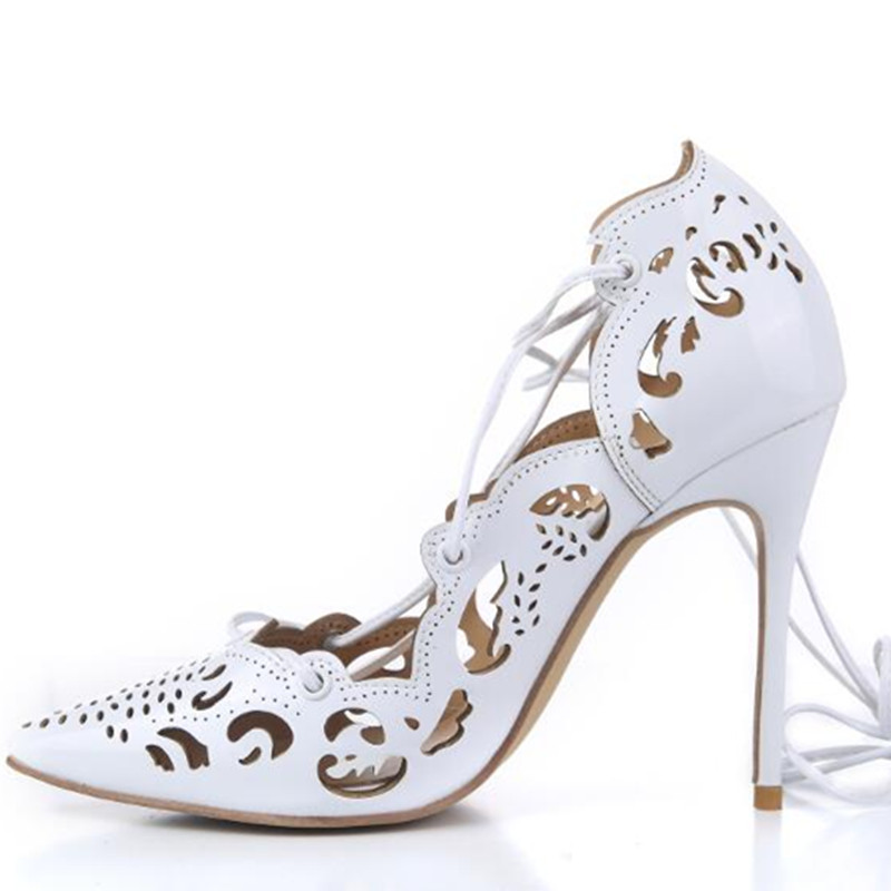 da6f54870a5 US $50.32 35% OFF|Gold Impera Laser cut Thin High Heels Women Pumps Lace up  Pointed Toe Cut out Party Dress Shoes Sapato Femmes Pink Gold-in Women's ...