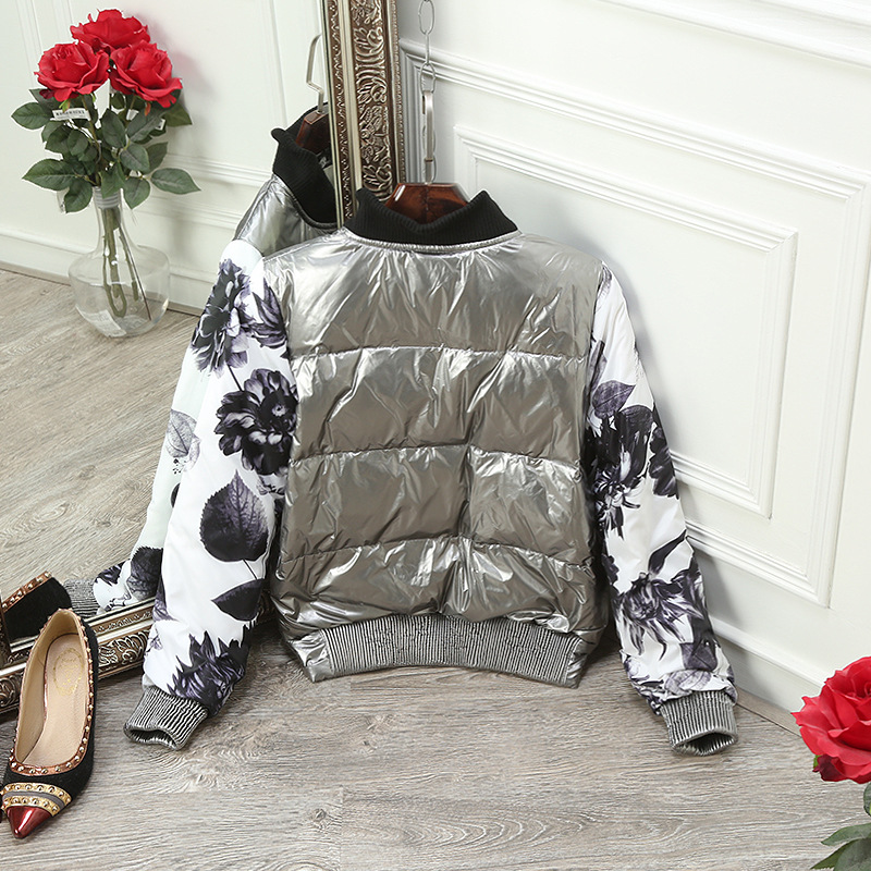 Jackets & Coats Civichic Top Grade Woman Winter Warm Coat Knitted Rib Collar Silver Spell Down Jacket Sleeve Print Spliced Eiderdown Wear Dc561