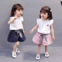 Nieuwe 2 Stks Bloemen Baby Meisjes Zomer Kleding Set Kids Baby Meisjes Casual T-shirt Tops Jarretel Rok Outfits Set Kleding