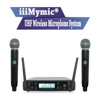 iiiMymic BK D220 ! Mini Size Pro UHF Microphone System Wireless Professional Dual Channel Frequency Adjustable for Karaoke