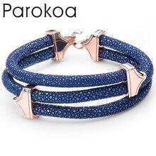 Men jewelry luxury brand leather bangle luxury dark blue leather bracelet type genuine stingray skin bracelet