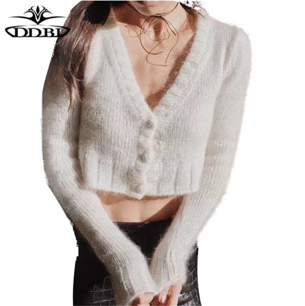 women sweaters and short cardigan Sweaters fluffy sweaters v neck ...