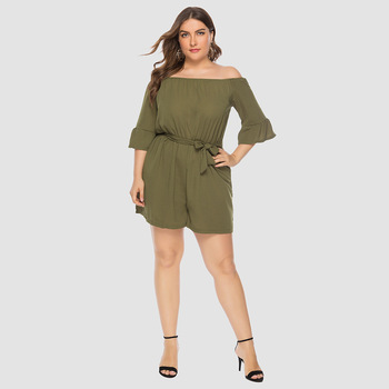2019 summer New Women Off-Shoulder Playsuits Casual Lace Up Short-Sleeved  Loose Solid Sexy Playsuitst Rompers Plus Size 4XL