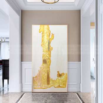 Gold art abstract painting wall art picture for living room home hallway wall decor original acrylic geometric quadro decoration