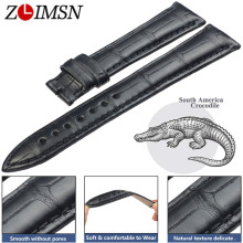 ZLIMSN Black Crocodile Leather Watch Bands 22mm Circle Pattern Luxury Strap for Men and Women 12mm-26mm Can be Customized Size