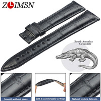 ZLIMSN Black Crocodile Leather Watch Bands 22mm Circle Pattern Luxury Strap for Men and Women 12mm 26mm Can be Customized Size