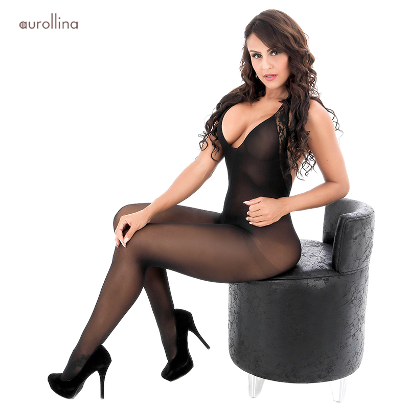 Sexy Deep V Neckline Nightie Dress Silk Nylon Bodystocking Open Crotch Lingerie Lace Embroidery Festish Stockings (1)
