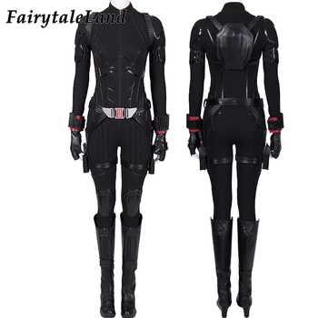 Avengers 4 Endgame Black Widow Cosplay Costume Female Natasha Romanoff Bodysuit Black Widow Jumpsuit full Outfit with boots