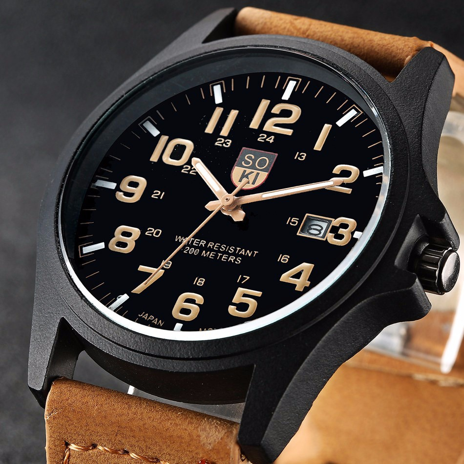 New Fashion Brand Sport Running Military Leather Quartz Watch Wristwatches Gift for Men Male Boy Black Brown /w Calendar quartz wristwatches 2017 new fashion colorful boys girls students time electronic digital wrist sport watch gift hot dropship626