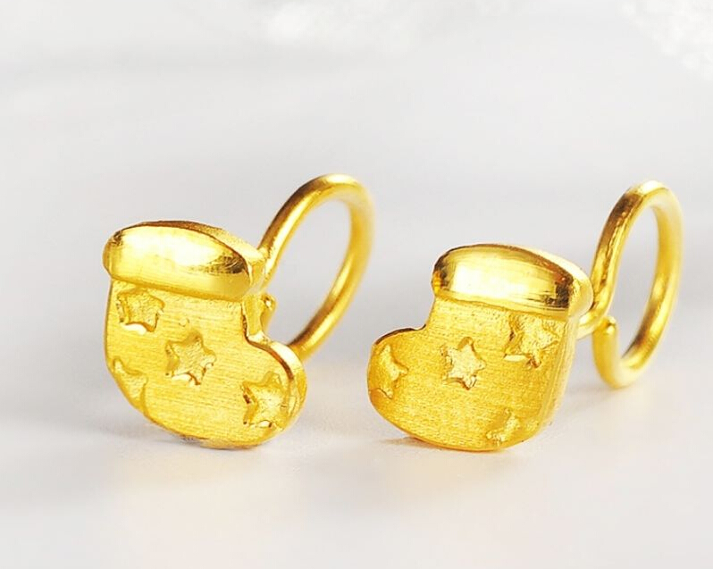 Pure Solid 24K Yellow Gold Earrings / Perfect Christmas Sheos Earrings