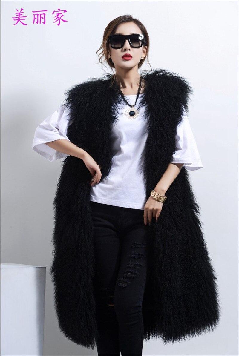 zimní nové ženské dlouhé části vlny vlny kolem krku kůže vesta kožešiny kabát dlouhé vlny kabát mongolie ovčí kožešiny vesta